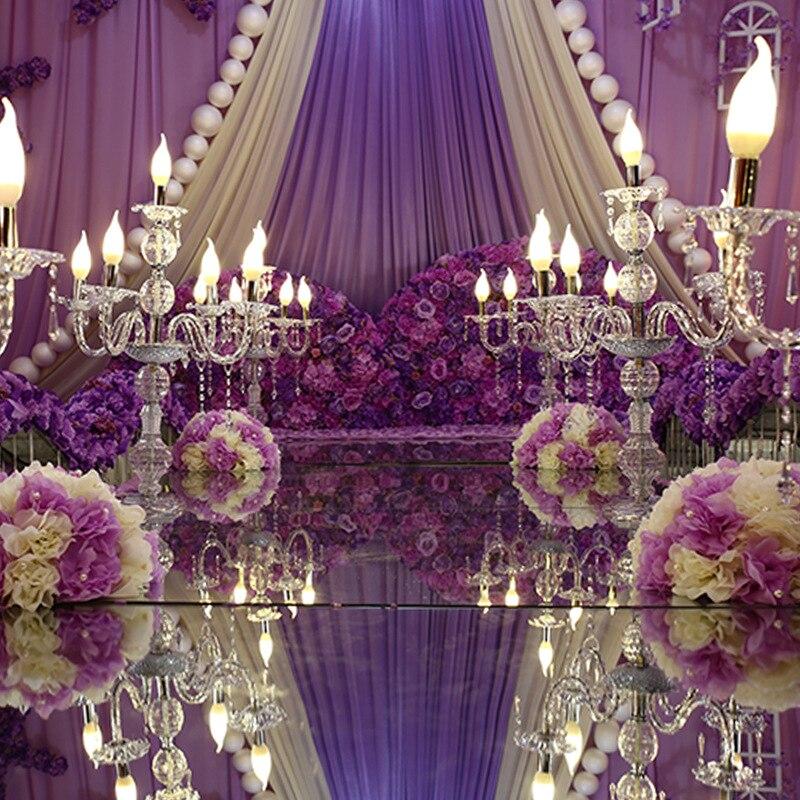 Wedding Candlestickgold Metal Crystal Pillar Flower Holder