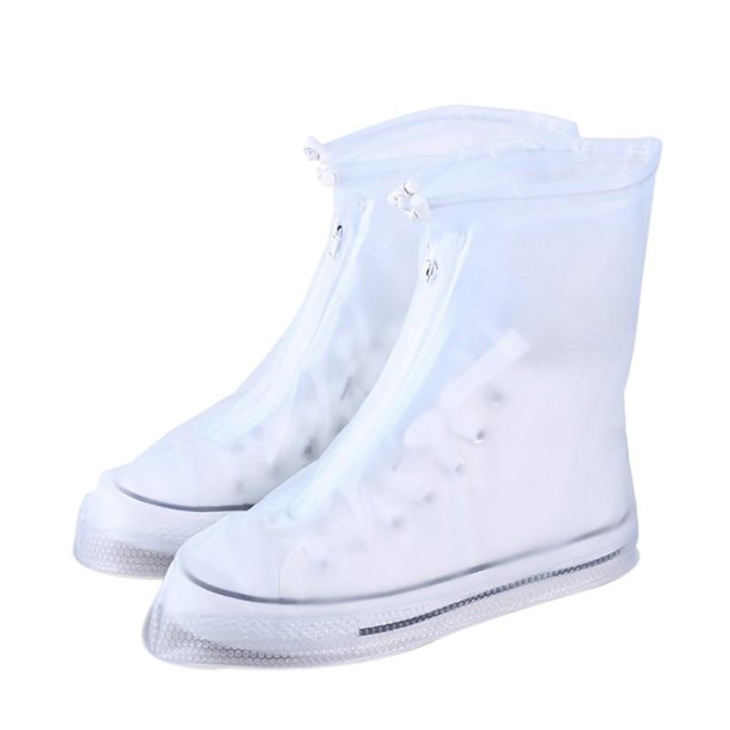 1pair Waterproof Protector Shoes Boot Cover Unisex Zipper Rain Shoe Covers High-Top Anti-Slip Rain Shoes Cases S-XXXL 7