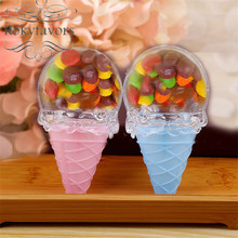 FREE SHIPPING 12PCS Lovely Acrylic Ice Cream Favors Holder Kids Birthday Party Sweet Decors Gifts Baby Shower Ideas(China)