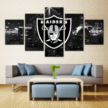 Black Logo Oakland Raiders American Football Cap Bedroom Wall Art Decor Sport Oil Painting on Canvas Customized No Frame