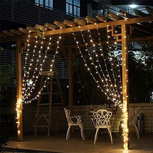 Kmashi Outdoor Christmas holiday 9.8ft x 9.8ft 300LED Curtain icicle Lighting with 8 Modes Memory Controller with free shipping(China)