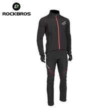 ROCKBROS Cycling Bike Bicycle Long sleeve Sets Winter Thermal Fleece Bike Jersey Windproof Reflective Jacket Sportswear Clothing(China)