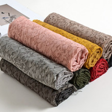 luxury patchwork with lace flowers plain solid shawl viscose muslim women head scarves hijabs fashion wraps gifts 10pcs/lot