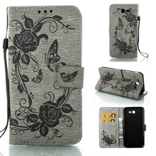 Fashion Butterfly Flower Leather Case Flip Cell Phone Case Wallet Stand Cover For Samsung Galaxy A3 2017 A320 Cases Bags Capa(China)