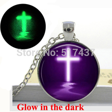 Glow in the dark Purple Cross Necklace Glass Tile Jewelry Cross Necklace Pendant - art photo glass dome Glowing Necklace(China)