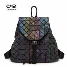 Leatury Luminous Backpack Diamond Lattice Bag Travel Geometric Women  Fashion Bag Teenage Girl School Noctilucent Backpack b9c74e2063