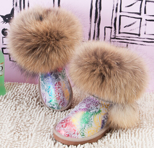 Muleshoe cattle fur one piece oversized fox fur snow boots knee-high cow muscle boots outsole<br><br>Aliexpress