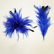 Royal Blue Color Feather Flower Cocktail Hair Clip.Lady's Flower Feather Hair Clip Corsage Fascinator Wedding Party Headdress