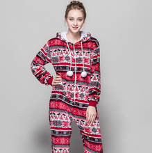 All In One Snowflake Slim Women Warm Pajama High Quality Flannel Pajamas Sets Home Cartoon Animals Red Bird Sexy Hooded Pyjamas(China)