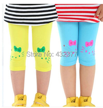 2015 New hello kitty Cat Prints Leggings Children Girl Lovely Summer Shorts Velvet Cropped Pants(China)