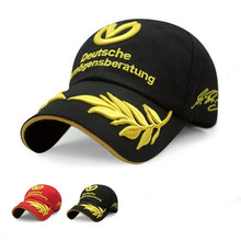 Snapack black baseball cap men women hats formula 1 caps Michael Schumacher Cap Racing Mens Hat Wheat Embroidery