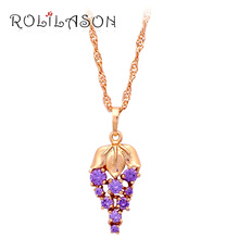 accessories jewelry plant  design corn shape K yellow gold tone Purple Crystal Fashion Jewelry Necklace & Pendants LN266