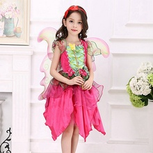 Girls Fairy Dress Flower Fairy Cosplay Dress with wings Summer Dress Fairy Wing and Tutu Set Kids Party Cosplay Clothing 3-12YRS