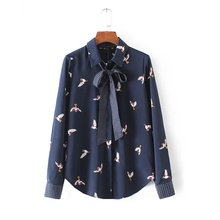 L9247 fashion women elegant navy blue color birds print knot deco long sleeve shirt blouse ladies match all long sleeve blusas
