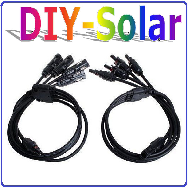 MC4 solar PV connector ,TUV/UL standard Waterproof IP67, 4 in 1 Y Connector with 74.5cm cable for PV panels parallel connection<br><br>Aliexpress
