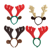 Stylish Christmas Elk Head Cute Headband 4 Solid Colors Hairband Unique Design Festival Hair Band Accessories Christmas Gift
