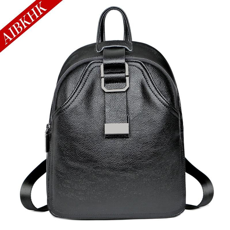 AIBKHK Casual Backpack Female Leather School Backpacks for Girls Black School Bag<br>