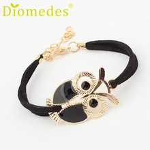 Bracelets Diomedes Gussy Life Wholesale High quality Korean Fashion Girls Vintage Owl Decoration Faux Leather Dec622