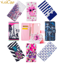 Cute Pattern Wallet Telephone Cases For Wiko Lenny 2 Lenny2 Book Flip Stand Card Slot PU Leather Covers TPU Silicon Full Housing
