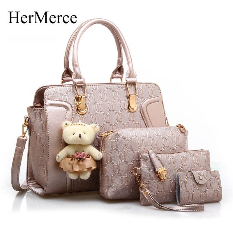 HerMerce Women Leather Bags Handbags Women Famous Brands Shoulder Bags Women Bag Female Bags Set Bolsas Feminina<br>