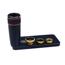 Apexel Hot selling Telephoto 12X Zoom Phone Camera Lens for iphone 5 5S + 3in 1 fisheye len wide & macro phone lens APL-12X85(China)