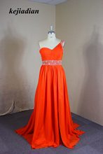 robe de soiree Sexy red Evening Dresses one shoulder Backless Pearls Beaded  Chiffon Party Gowns prom dress Custom Made 712826ae0cdd