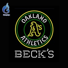 Becks Oakland Athletics Neon Sign Board Neon Bulbs Glass Tube Handcrafted Recreation Window Neon Light Light Bulb ART Sign 24x20(China)