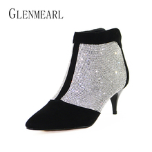 Buy Brand Ankle Women Boots Winter Warm Plus Size Rhinestones High Heel Shoes Woman Zip Pointed Toe Sexy Short Boots Females 40 for $38.85 in AliExpress store