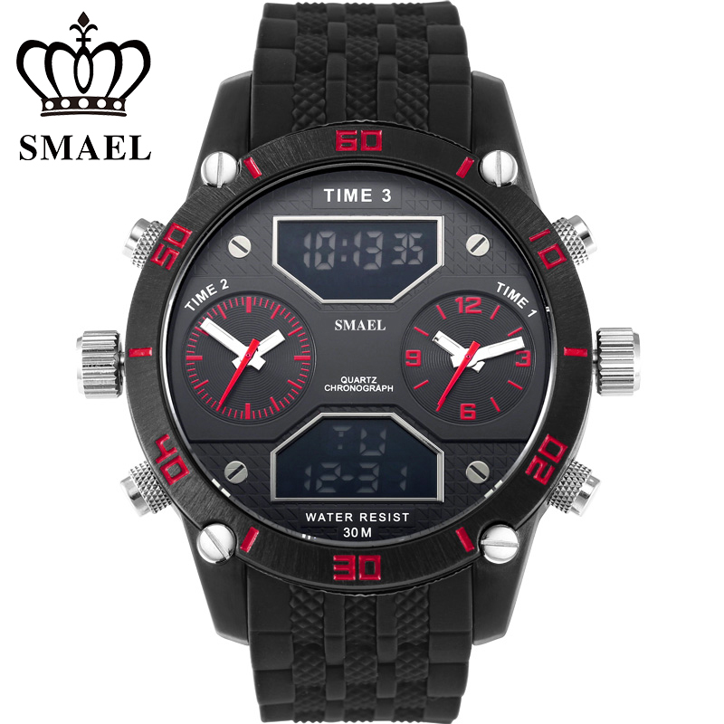 Three Time Display Quartz LED Digital Casual Mens Watches Top Band Luxury Big Dial IP Alloy Business Watch Fatherss Gift WS1159<br><br>Aliexpress