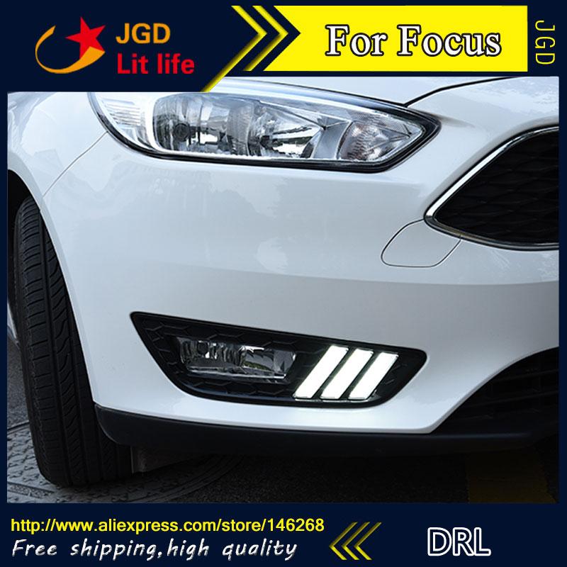 Free shipping ! 12V 6000k LED DRL Daytime running light for Ford Focus 2015 2016 fog lamp frame Fog light<br>