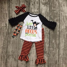 baby girls wearfall boutique girl children Halloween little miss hocus pocus outfits kids cat Halloween sets with accessories