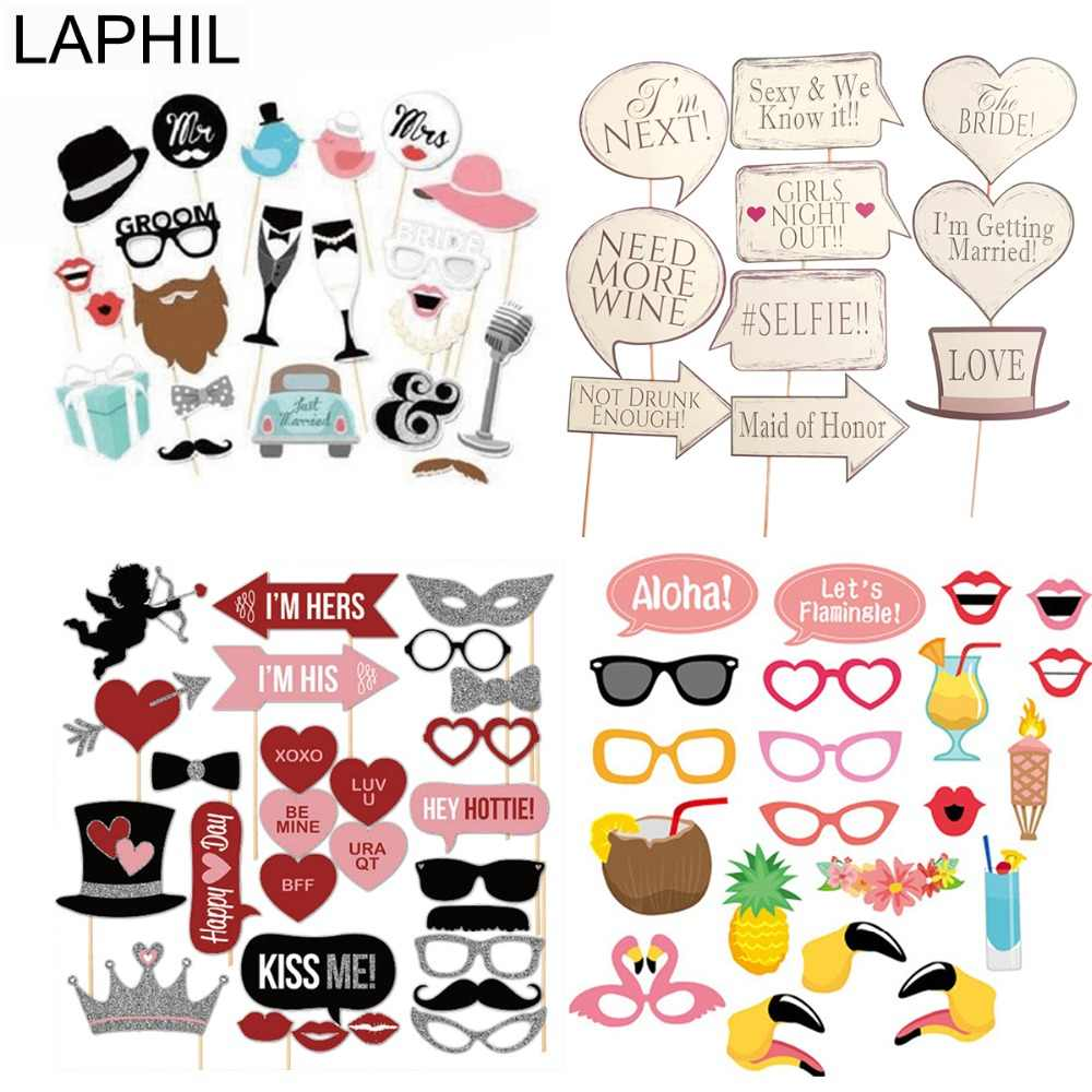 LAPHIL Mr Mrs Just Married Photo Booth Props Wedding Decoration Bridal Shower Bachelorette Party Supplies Photobooth Wedding