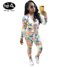 HongMiao 2017 New Two Piece Tracksuits Print Women Pant and Top Casual Jacket Long Sleeve Zipper Sexy 2 Piece Set Ensemble Femme