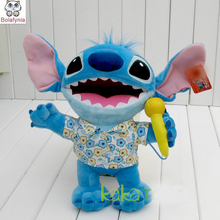 Children Stuffed Toy stitch sing a song with microphone kid doll plush toy baby toys birthday gift