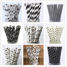 25pcs Black Dog Paw paper drinking straw Black Theme Celebration Decor Party Straws Kids Craft Pet Dogs cool cow milk(China)