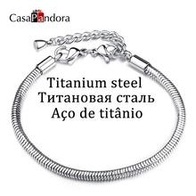 Buy CasaPandora Titanium Steel Stainless Steel Cobra Snake Chain Bracelet Pulseira Lobster Fit Charm Pulsera Making Accessories DIY for $2.19 in AliExpress store