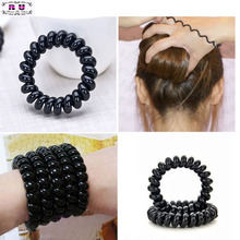 5PCS/Set Women Lady Girls Black Elastic Rubber Telephone Wire Style Hairband Hair Ties & Plastic Rope Hair Band Accessories