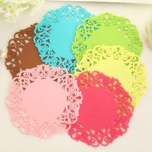 4PCS Hot Sale Colorful Lace Silicone Flower Coasters Mat Pad Cushion Tea Cup Bowl Holder Placemats