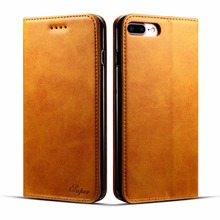 Real Genuine Calf Cow Leather Side Open Wallet Bags Case 3 Card-slot, Flip Business Style cover for iphone 7 for iphone7 plus(China)