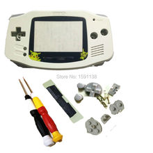 Hot Sale White Color Pikachu Cartoon Plastic Lens For Nintendo Gameboy Advance GBA Console Shell Case w/ X/Y Screwdrivers