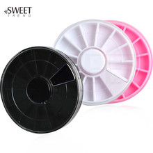 50pcs Round Plastic Rotatable Container Case Nail Art Empty Storage Wheels Rhinestones Beads Slices Box LANC273