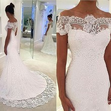 vestido de noivas Boat Neck Mermaid Lace Wedding Dress Pattern