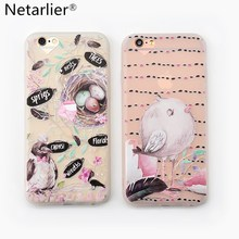 Netarlier New Lovely Birds Crows Nest Trees Floral Phone Case For iPhone 6s Plus 7 7Plus High Quality Matte TPU Soft Phone Cover(China)