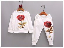 2016 autumn children clothing sets  long sleeve shirts + pants with sequin rose flowers fashion kids clothes girls Clothing Sets