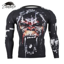 SUOTF MMA Fitness Tattoo Monkey Pattern Thai Boxing Sports Sweater Long Sleeve Boxing jerseys tiger muay thai jerseys MMA(China)