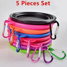 5 Pieces Set On Sale Silicone Collapsible Foldable Dog Bowl Outdoor Portable Dogs Cats Feeder Water Bowl Puppy Travel Bowls