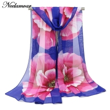 spring autumn fashion women silk  chiffon scarf large flower pattern shawl winter  foulard thin long scarves  hijab   bufandas