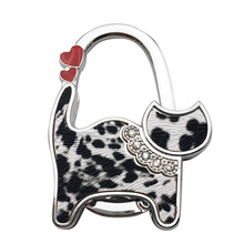 PACGOTH Unisex Table Cat Foldable Purse Zinc Alloy Bag Hanger Hangbag Hook Holder Safer Gift Kawaii Rhinestone Cat 2 Heart