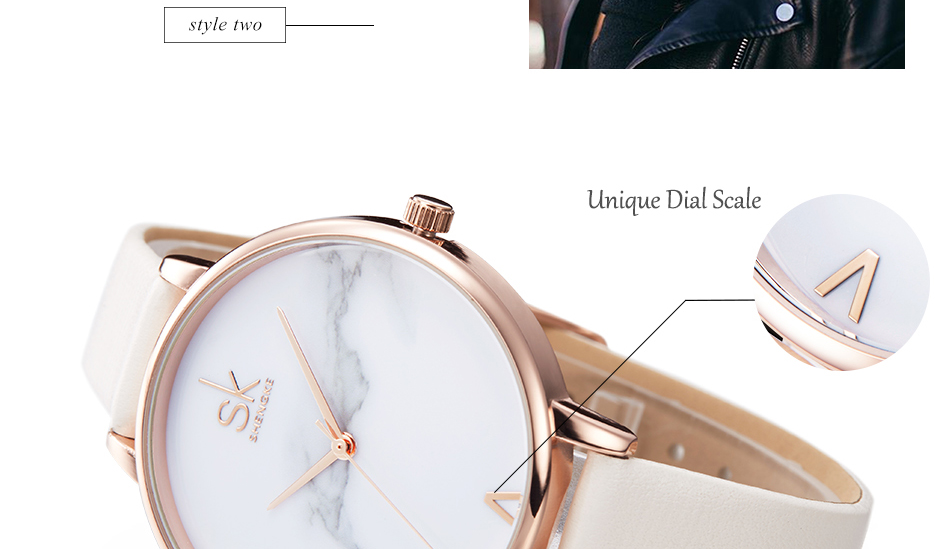 Shengke Top Brand Fashion Ladies Watches Leather Female Quartz Watch Women Thin Casual Strap Watch Reloj Mujer Marble Dial SK 22