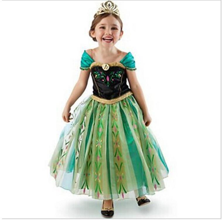 New Girls Dress Cartoon Green Cosplay Snow Queen Princess Dresses Elsa Dresses Anna Costume Baby Children Clothes Kids Clothing<br><br>Aliexpress